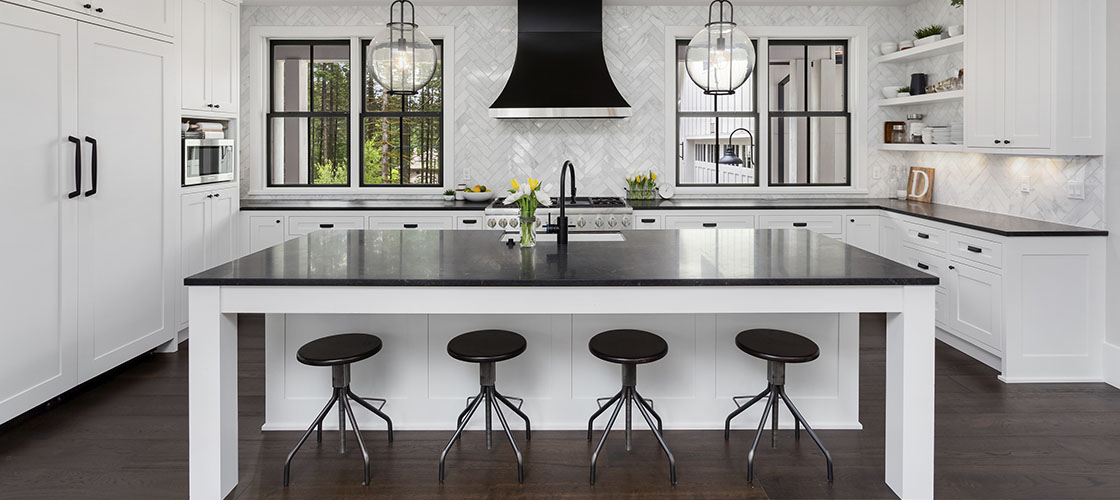 Updated black and white modern kitchen