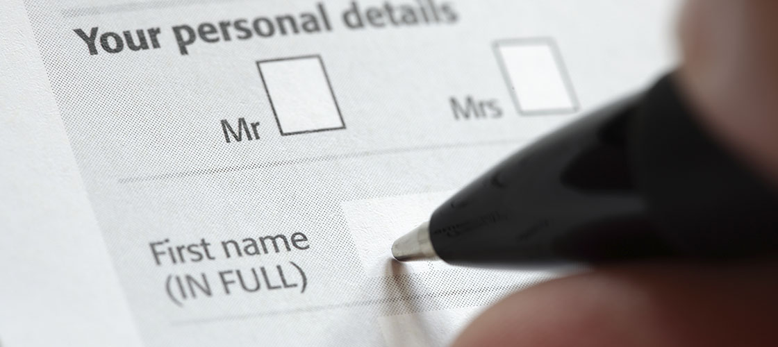 Person filling out mortgage application